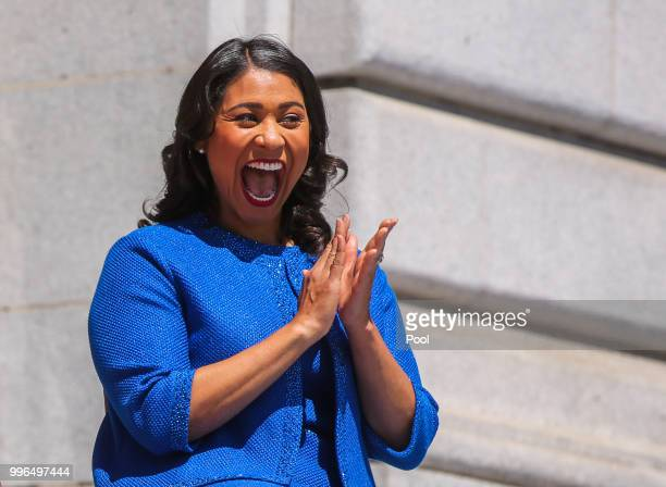 Mayor London Breed smiles at the crowd moments before taking the oath of office outside City Hall July 11 2018 in San Francisco California