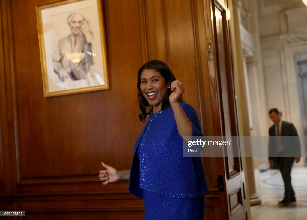 Mayor London Breed walks to her office following her inauguration ceremony July 11, 2018 in San Francisco, California.