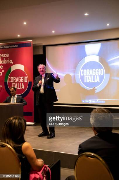 Mayor Luigi Brugnaro seen speaking to people during the press conference. At the regional electoral campaign, Mayor of Venice and President of the...