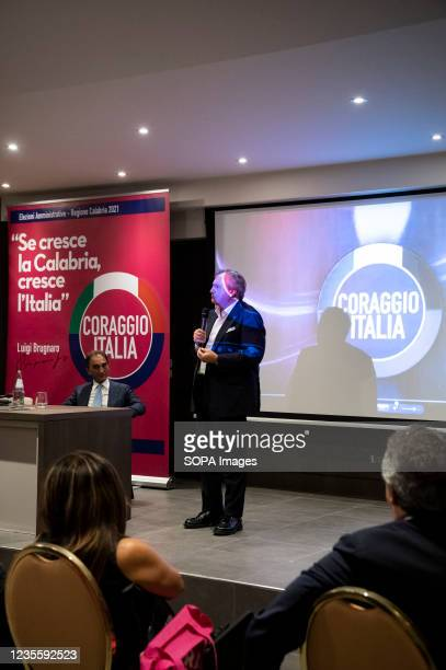 Mayor Luigi Brugnaro speaks to people during the press conference. At the regional electoral campaign, Mayor of Venice and President of the new...