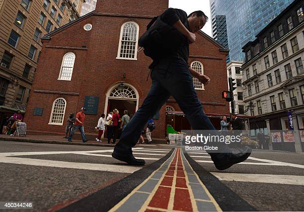 Mayor Martin J Walsh announced that nearly 2000 feet of the painted sections of the historic Freedom Trail in Charlestown Downtown Crossing and the...