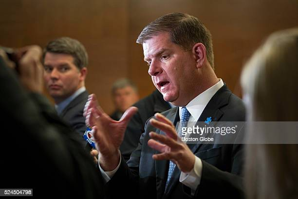 Mayor Martin J Walsh speaks with members of the media after attending the Boy Scouts of America Urban Scouting breakfast at the Westin Boston...