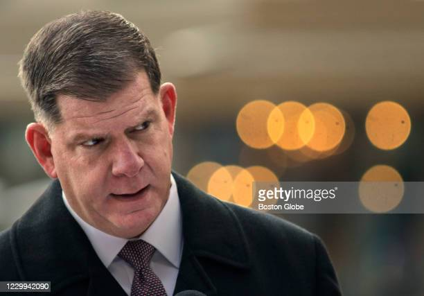 Mayor Marty Walsh gives updated information concerning the COVID-19 pandemic at a press conference outside City Hall in Boston on Dec. 3, 2020....