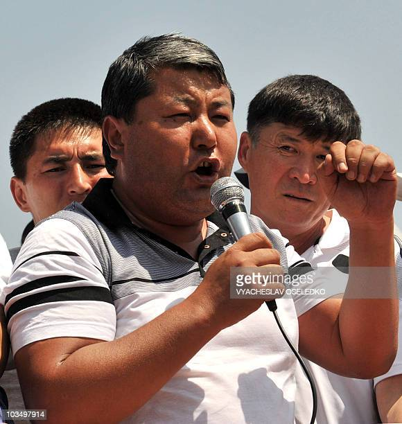 Mayor Melis Myrzakhmatov delivers a speech during an opposition rally in Oshe, some 650km outside Bishkek on August 20, 2010. More than two thousand...