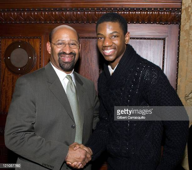 Mayor Michael A Nutter and Actor Jermaine Crawford attend The Screening of the SeasonFinale of the HBO Original Series The Wire Hosted by...