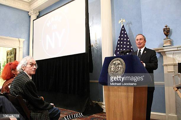 Mayor Michael Bloomberg addresses the audience including artists JeanneClaude and Christo during the HBO Documentary Films Screening of The Gates at...