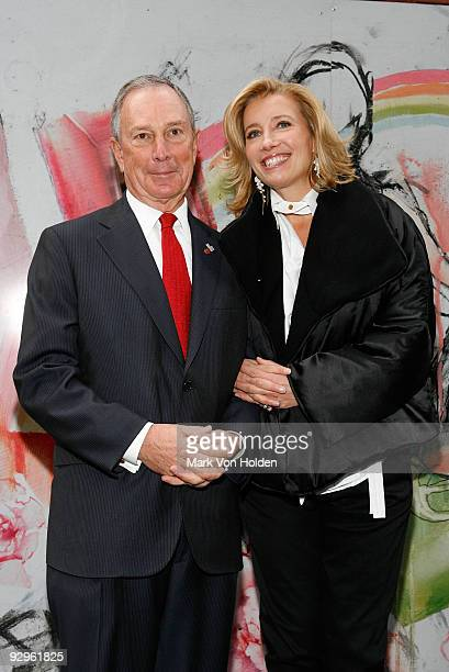 Mayor Michael Bloomberg and Actress/activist Emma Thompson attend the Journey exhibition opening at Washington Square Park on November 10 2009 in New...