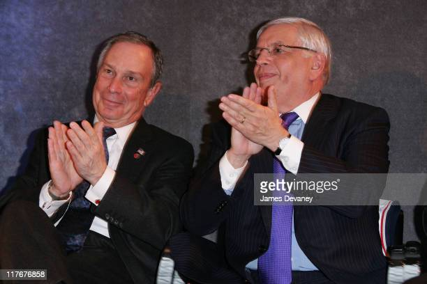 Mayor Michael Bloomberg and David Stern during NJ Nets and Forest City Ratner Press Conference in Brooklyn at Brooklyn Museum of Art in Brooklyn New...