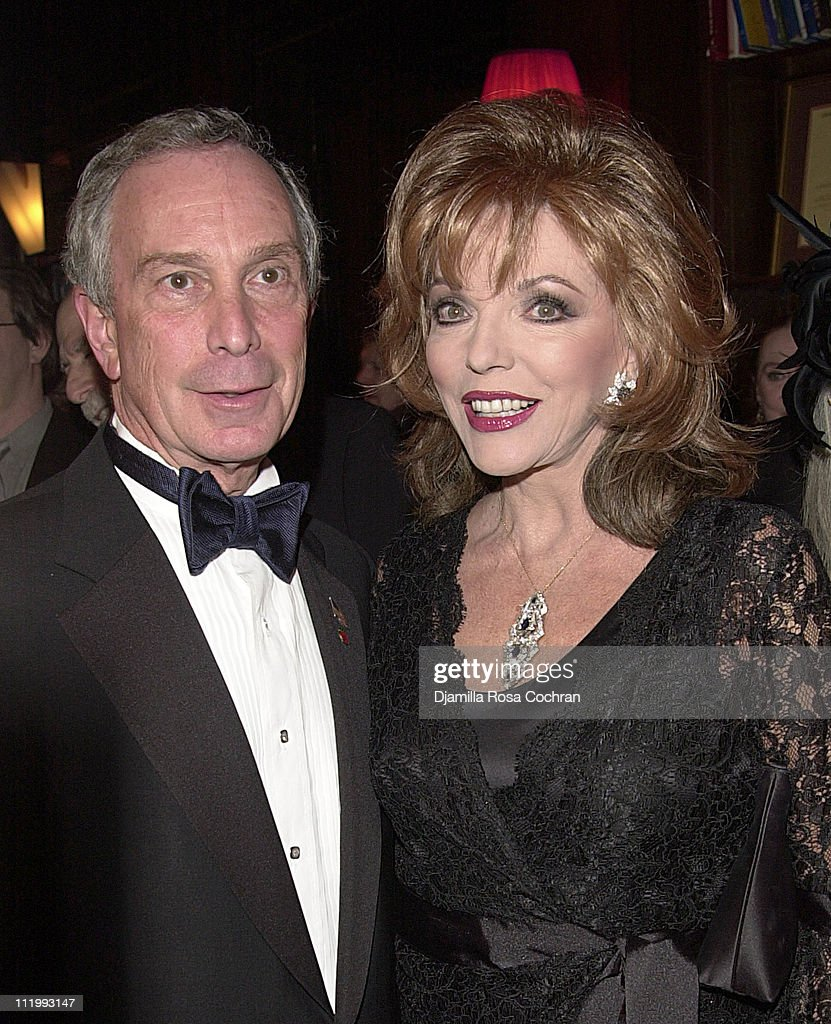 Mayor Michael Bloomberg and Joan Collins during New York Oscar Night Party at Le Cirque 2000 in New York City, New York, United States.