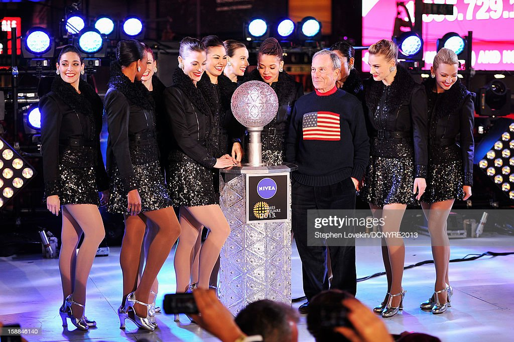 Mayor Michael Bloomberg and The Rockettes onstage at Dick Clark's New Year's Rockin' Eve with Ryan Seacrest 2013 in Times Square on December 31, 2012 in New York City, New York.
