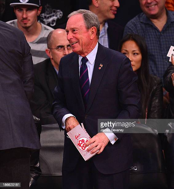 Mayor Michael Bloomberg attends the Miami Heat vs Brooklyn Nets game at Barclays Center on November 1 2013 in the Brooklyn borough of New York City