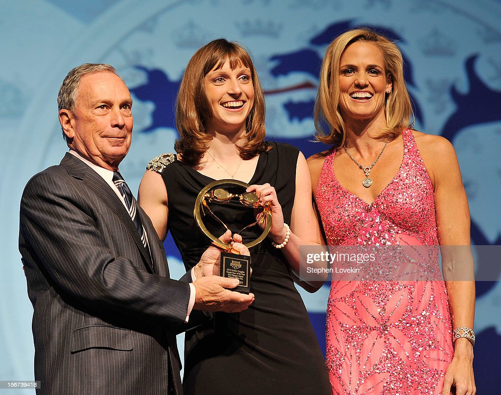 NYC mayor Michael Bloomberg, Olympic athlete Katie Ledecky, and Olympic athlete Dara Torres attend the 2012 Golden Goggle awards at the Marriott Marquis Times Square on November 19, 2012 in New York City.