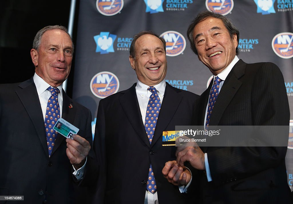 Mayor Michael Bloomberg, owner Bruce Ratner of the Brooklyn Nets and New York Islanders owner Charles Wang announce the team's move to the Barclays in 2015 at a press conference at the Barclays Center on October 24, 2012 in the Brooklyn borough of New York City.