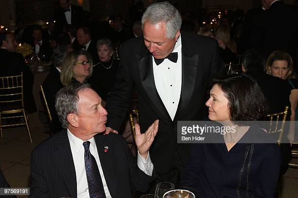 Mayor Michael Bloomberg Rasio Personality John Gambling and Diana Taylor attend the Broadcasters Foundation Of America Golden Mike awards at The...
