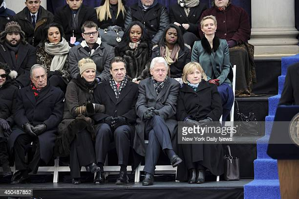 Mayor Michael Bloomberg Sandra Lee Governor Andrew Cuomo President Bill Clinton and Hillary Clinton attend the Inauguration of New York City Mayor...