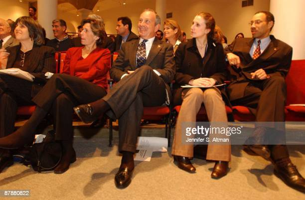 Mayor Michael Bloomberg sits next to Randi Weingarten and his daughter Emma Bloomberg before he speaks at the Principal for a Day Town Hall meeting...