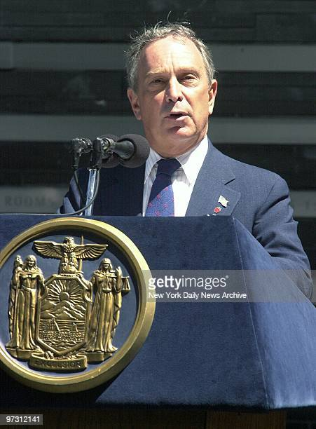 Mayor Michael Bloomberg speaks at the dedication of a memorial to the Irish potato famine of 18451852 at Battery Park Fieldstones and wildflowers...