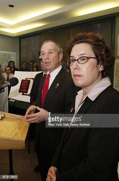 Mayor Michael Bloomberg tells about a new ad campaign as Transportation Commissioner Iris Weinshall stands by at Department of Transportation...