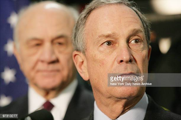 Mayor Michael R Bloomberg and Fire Commissioner Nicholas Scoppetta spoke at a press conference held at Engine Company 68/Ladder Company 49 to...