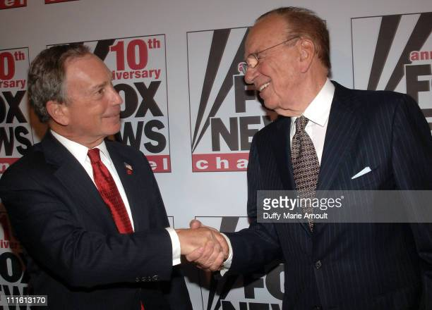 Mayor Michael R Bloomberg and Rupert Murdoch during FOX News Channel's 10th Anniversary VIP Party Hosted by Rupert Murdoch and Roger Ailes at News...