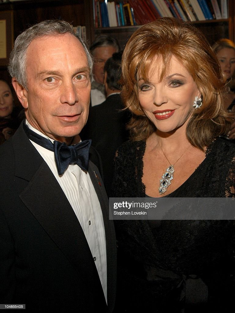 Mayor Mike Bloomberg and Joan Collins during Official 2003 Academy of Motion Picture Arts and Sciences Oscar Night Party at Le Cirque 2000 at Le Cirque 2000 in New York, NY, United States.
