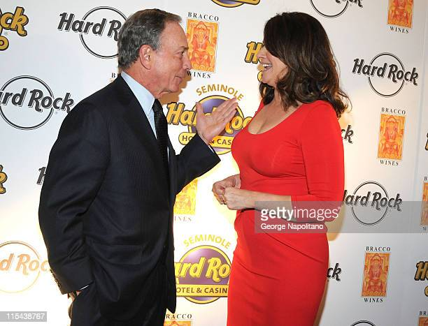 Mayor Mike Bloomberg and Lorraine Bracco during the launch of Bracco Wines at the Hard Rock Cafe on February 25 2008 in New York City