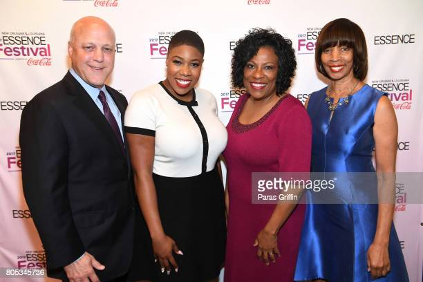 Mayor Mitchell Landrieu Symone Sanders Mayor Sharon Weston Broome and Mayor Catherine E Pugh pose backstage at the 2017 ESSENCE Festival presented by...