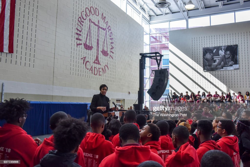 DC mayor Muriel Bowser addresses the students at Thurgood Marshall Academy on Thursday, March 22, 2018, in Washington, DC. Mayor Muriel Bowser is elevating her national profile on gun control as she prepares to host the March for Our Lives drawing as many as 500,000 to D.C. The mayor speaks at an assembly at Thurgood Marshall Academy in high-crime southeast Washington, where survivors of the Parkland, Florida, shooting are visiting.