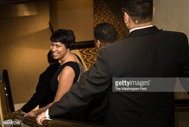 C Mayor Muriel Bowser arrives at the Gridiron Club Dinner at the Renaissance Hotel in Washington DC on March 14 2015 The annual dinner is a massive...