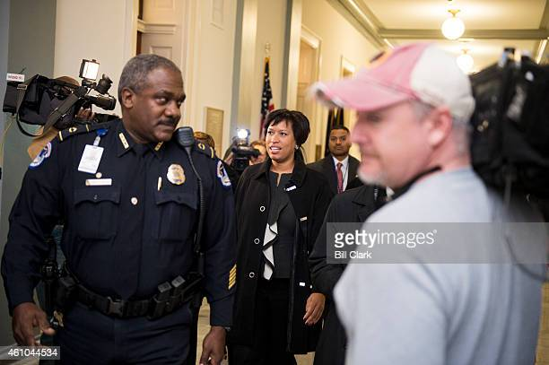 C Mayor Muriel Bowser arrives to hold a press conference with Del Eleanor Holmes Norton DDC in the Cannon House Office Building on Monday Jan 5 to...