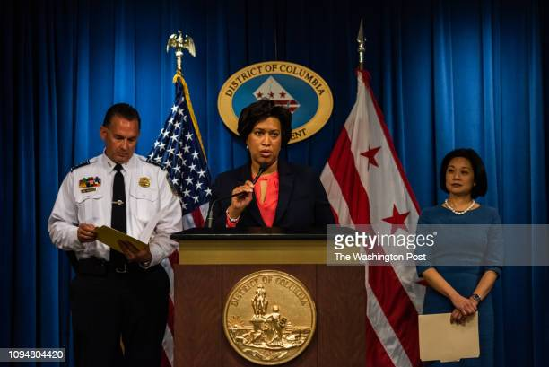 C Mayor Muriel Bowser center along with United States Attorney for the District of Columbia Jessie K Liu right and DC Police Chief Peter Newsham...
