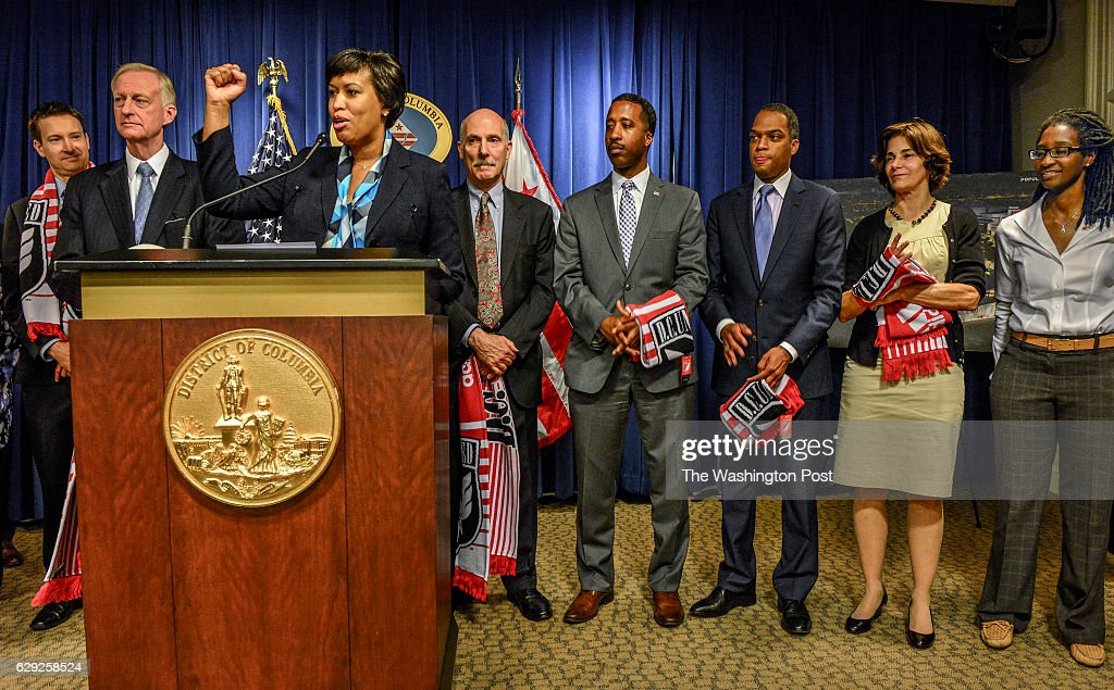 Mayor Muriel Bowser holds a press conference to address, among other things, a new soccer stadium, in Washington, DC. : News Photo
