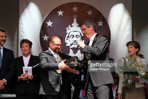 Mayor od Aachen Marcel Philipp hands over the Lambertz coffer, the 57th International Charlemagne Prize, to the President of the European Parliament...