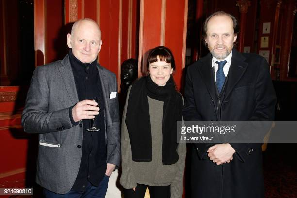 """Mayor of 4th District of Paris Christophe Girard, Actress Francoise Gillard and Producer Jean-Marc Dumontet attend """"L'Evenement"""" Theater Play during..."""