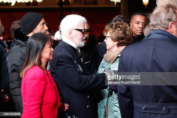 Mayor of 8th District of Paris Jeanne D'Hautesserre Stylist Karl Lagerfeld and MarieLouise de Clermont Tonnerre attend the launch the Christmas...