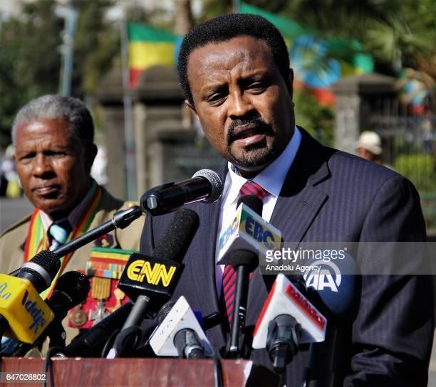 Mayor of Addis Ababa Driba Kuma speaks during the celebration of the 121st Anniversary of Ethiopia's Battle of Adwa at King II Menelik Square in...