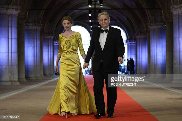 Mayor of Amsterdam Eberhard van der Laan and his wife Monika arrive on April 29, 2013 to attend a dinner at the National Museum in Amsterdam hosted...