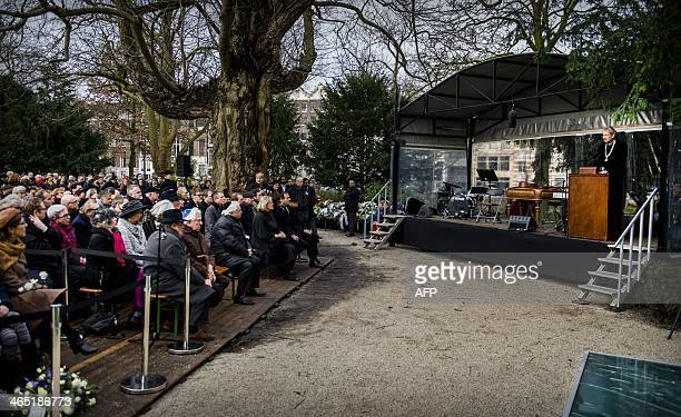 Mayor of Amsterdam Eberhard van der Laan delivers a speech at the Auschwitz monument in the Wertheimpark in Amsterdam on January 26 during the...