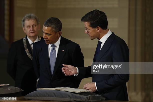 Mayor of Amsterdam Mayor Eberhard van der Laan, US President Barack Obama and Prime Minister of the Netherlands Mark Rutte visit the Rijksmuseum...