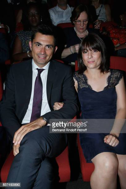 Mayor of Angouleme Xavier Bonnefont and his wife Fanny attend the 10th Angouleme FrenchSpeaking Film Festival Opening Ceremony on August 22 2017 in...
