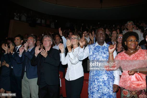 Mayor of Angouleme Xavier Bonnefont and his wife Fanny French Secretary of State for Foreign Affairs JeanBaptiste Lemoyne creator of the Festival...