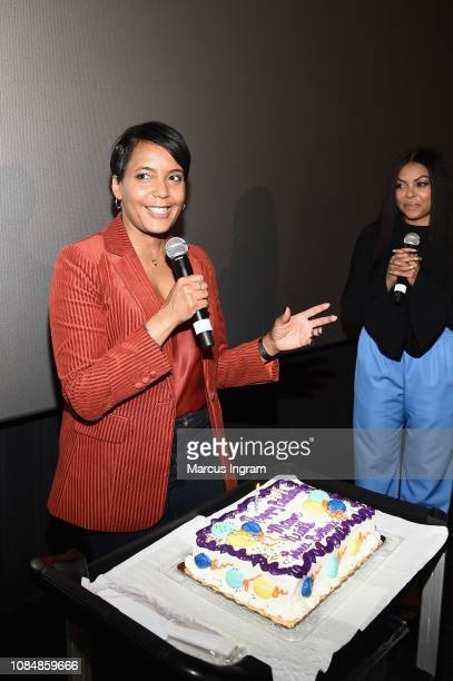 Mayor of Atlanta Keisha Lance Bottoms and Taraji P Henson attend a special screening of 'What Men Want' at Regal Atlantic Station on January 18 2019...