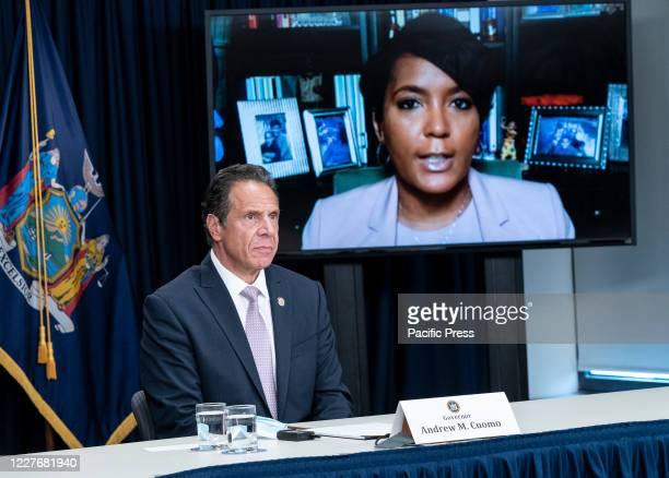 Mayor of Atlanta Keisha Lance Bottoms joins via video link Andrew Cuomo media briefing and announcement in the office on Third Avenue Manhattan...