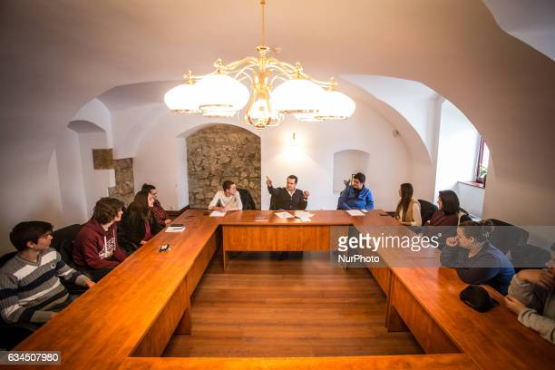 Mayor of Baia Mare Catalin Chereches is seen leading a meeting with a youth club in his town Despite the investigations against by the national anti...