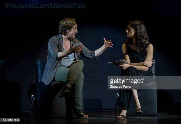 Mayor of Barcelona Ada Colau and Clara Serra attend the 'Mujeres cambiando el pais' event at La Latina theatre on June 21 2016 in Madrid Spain