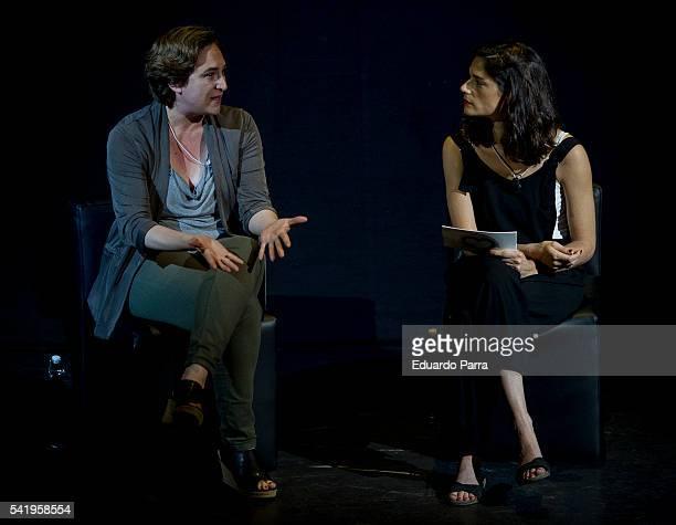 Mayor of Barcelona Ada Colau and Clara Serra attend the 'Mujeres cambiando el pais' event at La Latina theatre on June 21, 2016 in Madrid, Spain.
