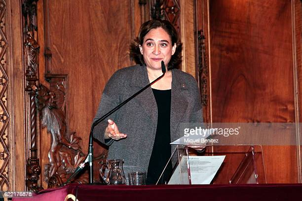Mayor of Barcelona Ada Colau attend the Golden Medal of Merit for Johan Cruyff Event at the Salo de Cent in the Barcelona's town hall on November 10...
