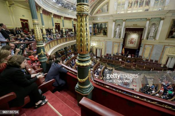Mayor of Barcelona Ada Colau attends a debate on a noconfidence motion at the Lower House of the Spanish Parliament in Madrid on June 01 2018 Spain's...