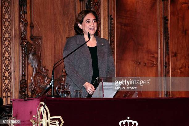 Mayor of Barcelona, Ada Colau attends the Golden Medal of Merit for Johan Cruyff Event at the Salo de Cent in the Barcelona's town hall on November...