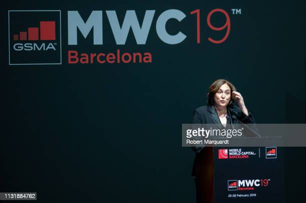 Mayor of Barcelona Ada Colau attends the official dinner inauguration for Mobile World Congress 2019 held at the Museu Nacional d'Art de Catalunya on...